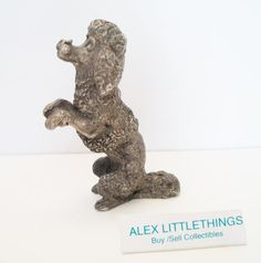vintage pewter poodle figurine metal poodle by ALEXLITTLETHINGS, $17.43