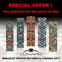 Peyote bracelet pattern, peyote pattern, stitch pattern, pdf file, pdf pattern, pack, FPP09 by LunamisBeadsPatterns on Etsy