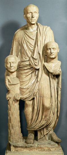 Roman Patrician with busts of his ancestors. Late 1st. century BCE