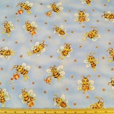 Bee Happy Watering Can Bees Flowers 100% Cotton Fabric