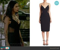 Isabelle's black side mesh dress on Shadowhunters. Outfit Details: https://wornontv.net/66489/ #Shadowhunters