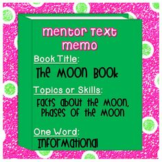 I've decided to share a mentor text with you that is full of awesome information and illustrations. This author makes understanding science very simple. So what is the book you ask...........???