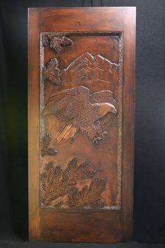Eagle carved wood door