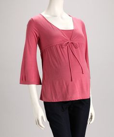 Take a look at this Rose Front-Tie Maternity V-Neck Top - Women by Dynabelly on #zulily today!