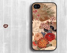 iphone 4 case iphone 4s case Case for black  iphone 4 cover illustrator classic  drapery flower design printing. $13.99, via Etsy.