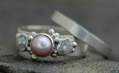 Rough Diamond and Pearl Engagement Band and Wedding by Specimental