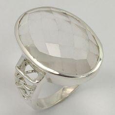 925 Solid Sterling Silver Ring Size US 8.25 Real CRYSTAL QUARTZ Checker Gemstone #Unbranded Quartz Crystal, Crystal Ring, Silver Jewellery Indian, Sterling Silver Jewelry, Gemstone Rings, Women Jewelry, Gemstones, Crystals, Gems