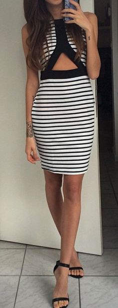 Stripes cut out dress