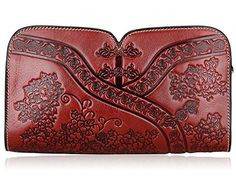 Pijushi Designer Floral Leather Clutch Cross Body Handbags 22361 (One Size, Red) * More info could be found at the image url. #ClutchHandbags