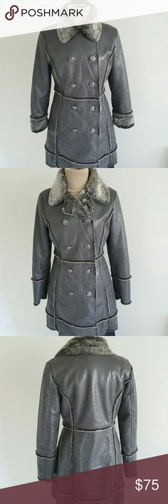 "Laundry by Shelli Segal Faux Coat 100% polyester Double breasted and stylish jacket ,perfect for winter very warm and cozy,  going well with leggings or jeans, signature buttons , shiny brown leather look and distressed style. Two pockets on the front, measurement are length 33"" bust 38"" waist 36"" , perfectly fit to the body . Made of 100% polyester . Been worn only one time. Excellent condition. Laundry by Shelli Segal Jackets & Coats"