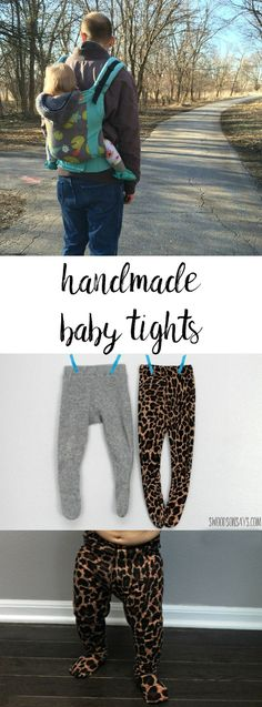 Handmade tights sewing pattern - the perfect thing to sew for a baby! This easy PDF sewing pattern for baby tights is quick to sew and easy to wear. I made a wool pair that were perfect for babywearing this past winter - and a leopard pair just for fun! #babysewingpatterns #howtomaketights #diytights #handmadetights