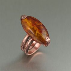 Handmade Copper Bark Ring with Amber