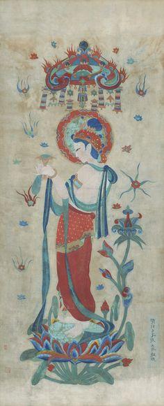 Zhang Daqian (Chang Dai-chien, 1899-1983) BUDDHIST MURAL PAINTING AFTER TANG ARTISTS dated 1952,ink and colour on cotton cloth, framed 212.8 by 85.5 cm. 83 3/4 by 33 5/8 in. 張大千 倣唐人壁畫 (1899-1983) 設色布本 鏡框 畫家題跋 款識: 清信弟子張大千敬造。 題跋: 此十年前於敦煌石室倣莫高窟唐人壁畫。 新衡仁兄得之,囑為題記。壬辰二月,張大千爰。 鈐印:「大風堂」、「張爰私印」、「大千」。 藏印:「舍翁欣賞」。 212.8 by 85.5 cm. 83 3/4 by 33 5/8 in. Chinese Painting, Chinese Art, Dunhuang, Buddhist Art, Deities, Japanese Art, Asian Art, Sculpture Art, Modern Art