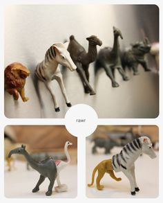 "Cute project (click pic for the how-to) - turn these animals into 2-part magnets. Fun ""match"" game for the little, little ones, and mix-n-match hilarity for the older ones!"