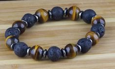 Men's Beaded Gemstones Bracelet Natural Tigers Eye Lava by TaKuKai