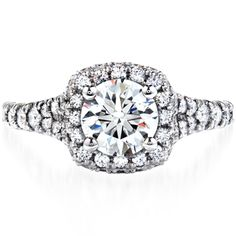 Acclaim Engagement Ring I A diamond encrusted band and crown create the perfect center stage for a perfectly cut Hearts On Fire diamond.