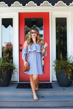 Off Shoulder Striped Dress from @thepinklilyboutique
