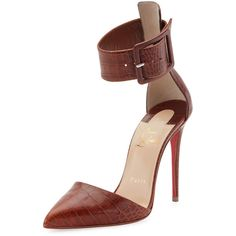Christian Louboutin Harler Snake-Embossed Leather Red Sole Pump ($895) ❤ liked on Polyvore featuring shoes, pumps, brown, christian louboutin shoes, croco shoes, brown pointed toe pumps, brown leather pumps and red sole pumps