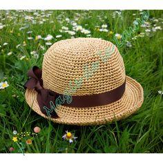 Kit à crocheter: modèle chapeau raphia au ruban satin pour femme : Autres Tricot et Crochet par magie-de-la-laine