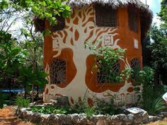 """""""Lovely decorative plaster on a house near Puerto Morelos, Mexico."""