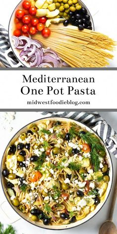 Mediterranean One Pot Pasta Midwest Foodie This one pot Greek pasta is loaded with veggies and your favorite Mediterranean flavors Its a 20 minute meal from start to fi. Easy Mediterranean Diet Recipes, Mediterranean Dishes, Pasta Dinner Recipes, Simple Pasta Recipes, Meatless Pasta Recipes, Vegetable Pasta Recipes, Summer Pasta Recipes, Light Recipes, Cooking Recipes