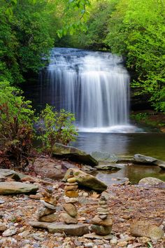 Schoolhouse Falls in Panthertown Valley in Nantahala National Forest in the North Carolina mountains