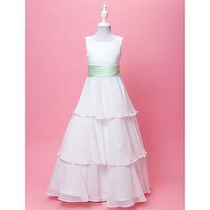 A-line / Princess Floor-length Flower Girl Dress - Chiffon / Satin Sleeveless Scoop with Bow(s) / Draping / Sash / Ribbon / Tiers – USD $ 69.99