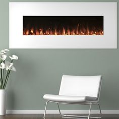Trademark Electric Fireplace Wall Mounted, Color Changing LED Flame & Remote, 50 Inch, By Northwest (White Electric Fireplace) (China) White Electric Fireplace, Wall Mount Electric Fireplace, White Fireplace, Electric Fireplaces, Indoor Fireplaces, Cottage Fireplace, Fireplace Outdoor, Faux Fireplace, Floating Fireplace