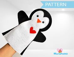 Penguin Hand Puppet, hand sewing pattern  A511 PDF Sewing pattern