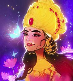 Devi Lakshmi by nidtoons Durga Images, Radha Krishna Images, Lord Krishna Images, Krishna Art, Krishna Pictures, Saraswati Goddess, Goddess Lakshmi, Divine Goddess, Holi Painting