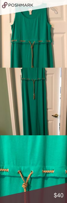 """Chico's jade green maxi dress Classic column dress with empire drawstring for a custom fit. Sleeveless, tank style, in a very comfortable knit. Hits at ankles (I'm 5'8""""). Never worn! Chico's Dresses Maxi"""