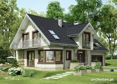 Projekt domu Turkus - dom z dużą jadalnią w kuchni oraz garażem na 2 samochody beton komórkowy - Archeton.pl