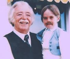 "Bill Erwin as ""Arthur"" on the set of ""Somewhere in Time"". With the child actor that plays his younger self  in character."