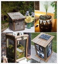 mariage rustique champêtre urne de mariage nichoir à oiseaux serre en verre tonneau boite photo