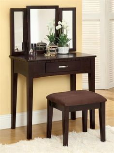Espresso Makeup Vanity Table I would like something a bit more classic but this style is still cute & practical.