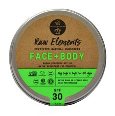 Raw Element's Face + Body sunscreen comes in a recyclable/reusable tin. Enjoy serious, full body sunscreen without the plastic. Chemical Free Sunscreen, All Natural Sunscreen, Sunscreen Spf 50, Active Ingredient, Vitamins And Minerals, Body Lotion, Face And Body, Biodegradable Products, The Balm