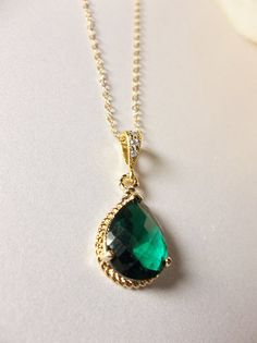 Emerald necklace  Czech glass  gold filled  by QueenMeJewelryLLC, $29.99