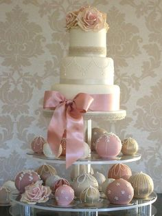wedding cake and small cakes