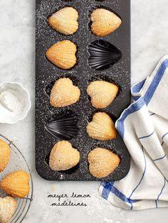 Meyer Lemon Madeleines - Heart-shaped meyer lemon madeleines - a lovely dessert for the one you love on Valentines Day.