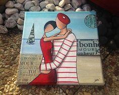 Tableau original Les amoureux du bord de mer Peinture Acrylique Histoire d'amour Romantisme Rouge Couple Marin Amour Marinière