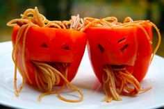 Horrible puking peppers for Halloween! Such and easy and fun dinner for the kids!
