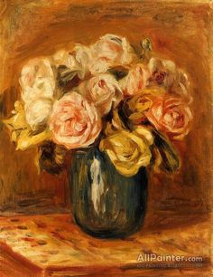 Pierre Auguste Renoir Roses In A Blue Vase oil painting reproductions for sale