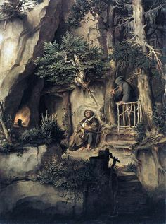 A Player with a Hermit by Moritz Von Schwind - Hand Painted Oil Painting