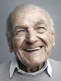 ~ this man is smiling because he has lived almost a century ~