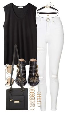 """""""Outfit with a black muscle tank and white jeans"""" by ferned ❤ liked on Polyvore featuring Topshop, T By Alexander Wang, Christian Dior, Chloé, Miss Selfridge and Forever 21"""