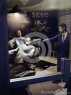 Barber ready to shave a client lying on one of his chairs, while another client points his gun on the head of the client being shaved.