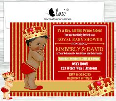 Royal Prince Baby Shower invitation. You may customize wording for your specific event. Available in blue and gold. *South Carolina residents must pay taxes on shipped items. Please contact me for a custom listing.**  This listing is for Single Sided Printed Invitations (US ONLY) or Digital file of Invitation ONLY. Invitations are 4x6 or 5x7 and printed on glossy card stock. (Includes envelopes)  Digital File: You will receive 1 PDF (with 2 invites) or 1 JPG file (4x6 or 5x7). You may print…