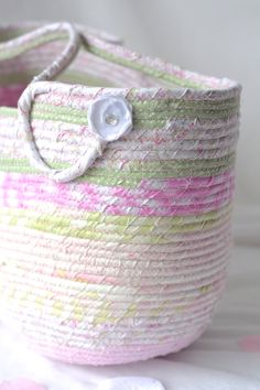 Wexford Treasures: Lovely Pink Tote Bag, ....I Handmade this pretty pink Coiled Fabric Basket, Shabby Chic Moses Basket, Lovely…
