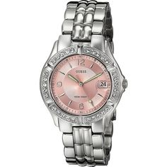 GUESS Women's G75791M Sporty Silver-Tone Watch with Pink Dial ,... ($76) ❤ liked on Polyvore featuring jewelry, watches, guess jewellery, guess wrist watch, guess watches, silvertone jewelry and stainless steel jewelry