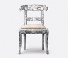 Rajasthan Side/Dining Chair of Bone Inlay with Simple Linen Seat in Either White, Grey or Black (Shown in Black) Seat: 19